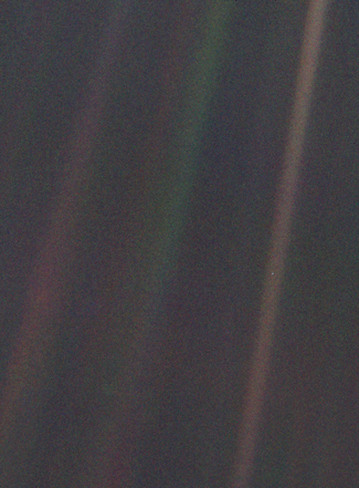 Pale Blue Dot photograph of Earth taken from record distance, showing Earth against vastness of space